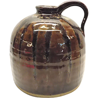 Pottery Jug With Brown Volcanic Drip Glaze BeeHive Shape