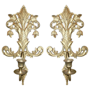 Brass  Sconces With Candlestick Holders Acanthus Leaf Design