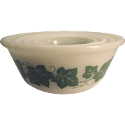 Nesting Bowls (4) With Green Ivy Design By Hazel Atlas Glass