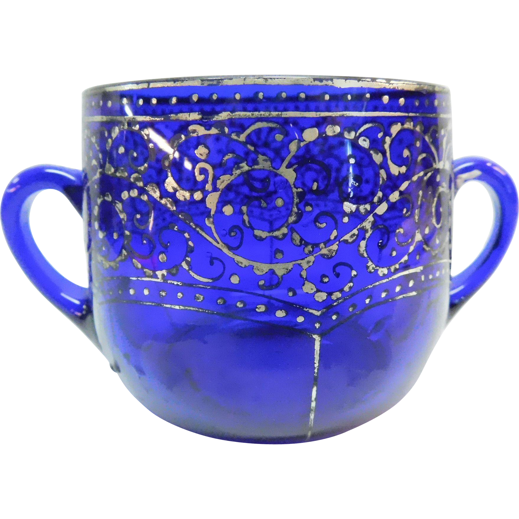 Cobalt Blue Sugar Bowl With Silver Overlay Czecho - Slovakia