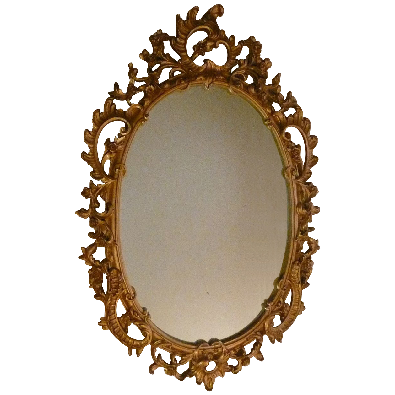 Syroco Wood Composite Mirror With Ornate Scroll From