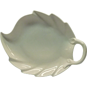White Porcelain Calla Leaf Nappy With Handle By Tirschenrreuth Of Germany