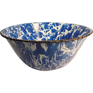 Enamelware Bowl Blue and White Swirl
