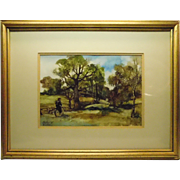 Landscape Watercolor Painting On Gesso Man on Unicycle By Listed Artist Gustave Wander