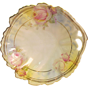 Porcelain Dish Leaf Shape with Floral Design and Pierced Handle Royal Ruddlstadt Prussia