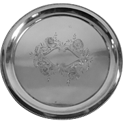 Round Silverplate Tray With Floral Pattern Deep Cut By Meriden