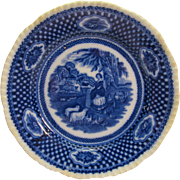W. Adams Flow Blue Bread Plate Royal Scene Old English