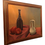 Signed Oil Painting On Board A Warm Still Life.