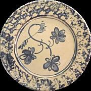 Vintage Pamela Pieropan Pottery Plate Blue Speckle Floral
