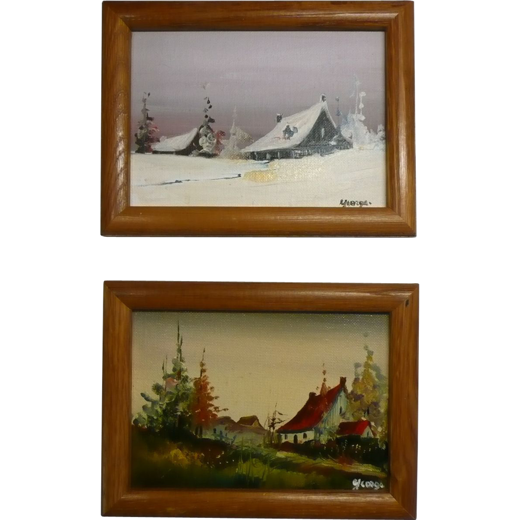 2 miniature art oil painting on canvas board landscape