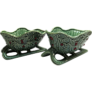 Napco Christmas Sleigh Ceramic Planters