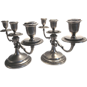 2 Candelabra's Pewter Over Brass Japan, removable bobeches