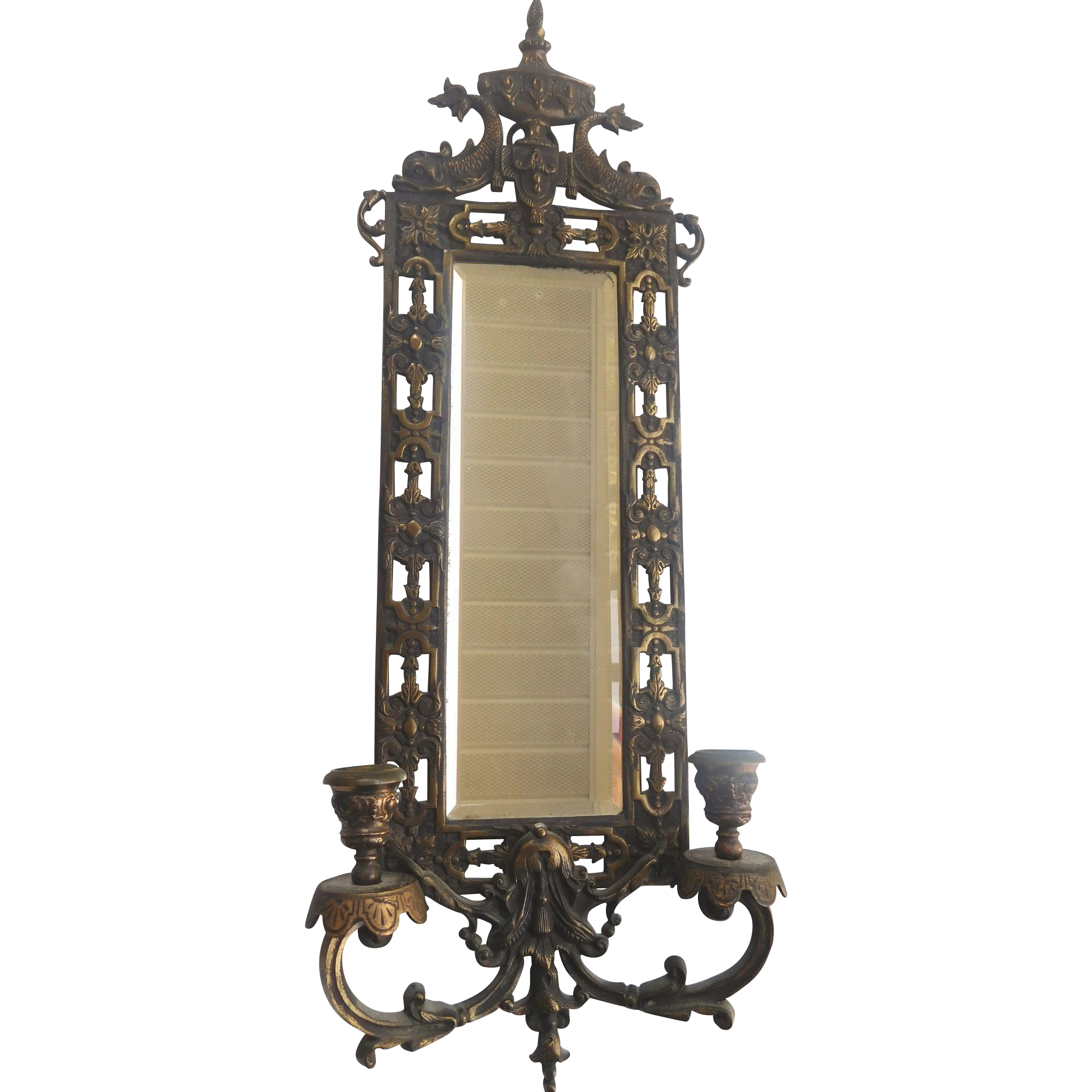 Beveled glass mirror metal sconce with candlestick from for Beveled glass mirror