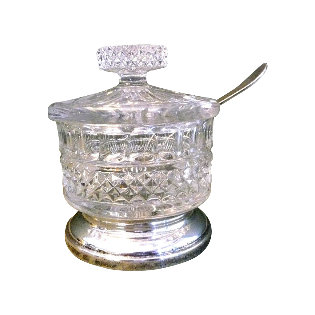 Beautiful crystal and silverplate sugar bowl with lid