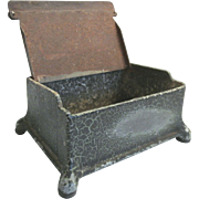 Cast Iron Match Box With Green Crackle Paint