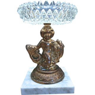 Glass Compote Figural With Marble Base