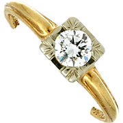 Circa 1940's 14K Yellow Gold Diamond Engagement Ring