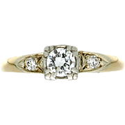 Vintage 14K Diamond Engagement Ring