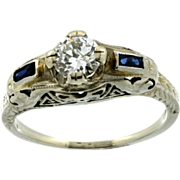 Art Deco 18K White Gold Diamond & Synthetic Sapphire Filigree Ring