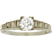 Art Deco 18K Diamond Engagement Ring
