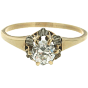 Handmade Victorian 14K Yellow Gold Solitaire Diamond Ring