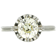 Art Deco Platinum Fancy Light Yellow Diamond Ring