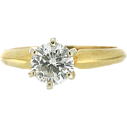 Modern Estate 14K/ Platinum Diamond Solitaire Engagement Ring