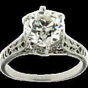 Art Deco Filigree Platinum Cushion Cut Diamond Engagement Ring