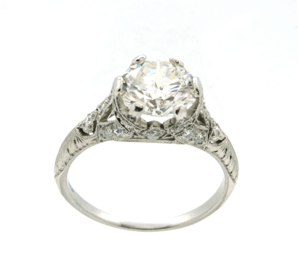 vintage tiffany art deco platinum & diamond engagement ring from