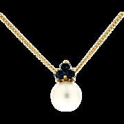 Modern Estate 18K Pearl & Sapphire Pendant w/18K Chain