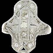 Art Deco 18K Diamond Fashion Ring