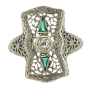 Art Deco 14K White Gold Filigree Diamond & Green Glass Ring