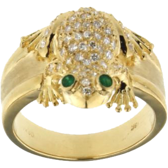 18K Yellow Gold Diamond and Emerald Frog Ring ONeills Estate