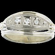 Vintage 18K White Gold Three Diamond Ring