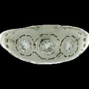 Art Deco 18K White Gold Filigree Three Stone Diamond Ring