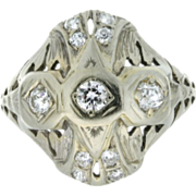 Art Deco 18K White Gold & Diamond Filigree Ring