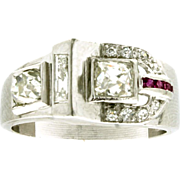 Art Retro Platinum, Diamond & Ruby Buckle Ring