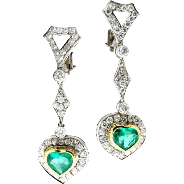 Modern Estate 18k Emerald Amp Diamond Dangle Heart Earrings