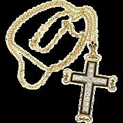 """Modern Estate 14K Yellow Gold Black Enamel & Diamond Cross w/ 18"""" Chain"""