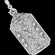 Art Deco 14K/Platinum & Diamond Pin/Pendant w/14K Filigree Chain
