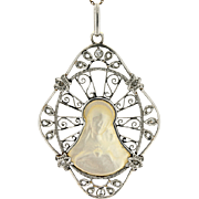 Edwardian 18K/Platinum Mother of Pearl & Diamond Religious Pendant w/14K Chain