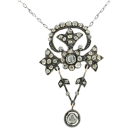 Georgian 18K Yellow Gold & Sterling Silver  Rose Cut Diamond Necklace
