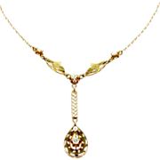 10K Yellow Gold Teardrop Lavaliere with Diamonds and Pearls