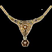Vintage 14K Diamond & Natural Blue Gemstone Necklace