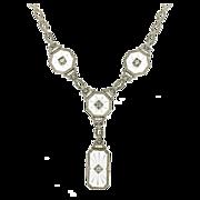 Art Deco 14K White Gold, Carved Quartz & Diamond Necklace w/ Platinum Top