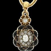 Victorian 18K Yellow Gold, Enamel & Rose Cut Diamond Necklace