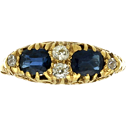 Victorian 14K/18K Sapphire & Diamond Ring