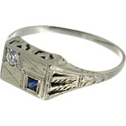 Art Deco18K White Gold Synthetic Sapphire & Diamond Ring