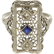 Art Deco 10K White Gold Synthetic Sapphire & Diamond Filigree Ring