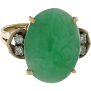 VIntage 14K Yellow Gold Carved Jade & Diamond Ring
